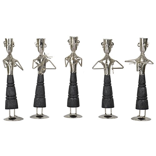 Pushpa International Wooden And Metal Musicians -(Set Of 5, 5 In X 12 In, Silver)