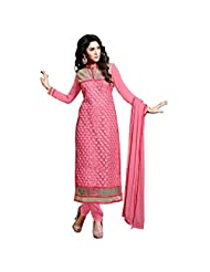 Aarti Lifestyle Women's Georgette Embroidered Dusty Pink Churidar Suit