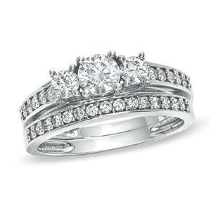 Discount Three Stone Sale. Graceful Inexpensive Diamond Wedding Set 2 Carat Round Cut Diamond on 10k Gold
