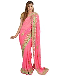 Wedding Saree Store Women's Georgette Saree( WSSG006, Pink )