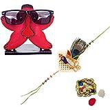 ECraftIndia Designer Rakhi With Decorative Spec/Sunglasses Holder And Decorative Pooja Plate