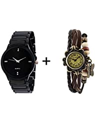 GTC_ COMBO OF BLACK QUARTZ ANALOG WATCH FOR MAN WITH BROWN DESIGNER LEATHER AN...