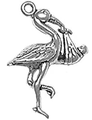 Sterling Silver Baby And Stork Animal Charm Nature Pendant For Jewelry Making Bracelet Or Necklace