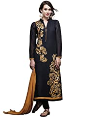 Black Straight Suit Adorn In Resham And Zari Embroidery
