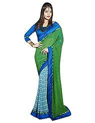 DesiButik's Alluring Green And Blue Georgette Saree