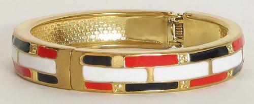 Metal Red, Black And White Hinged Bracelet - Metal