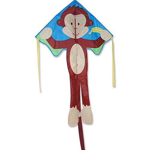 """Kite - Large Easy Flyer - Mikey Monkey (46"""" X 90"""") With 300 Ft 30lb Test Kite String And Winder"""