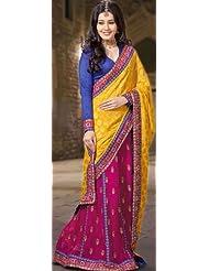 Exotic India Golden-Rod And Fuchsia Sari With Brocade Weave A - Fuchsia
