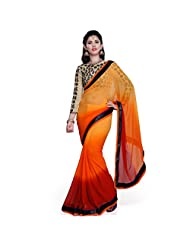 Janasya Women's Red Color Georgette Saree