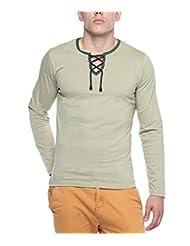 Hot Pepper Men's Cotton - Rope Neck T-shirt - Full Sleeve - Kiwi Green