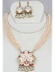 Exotic India Ivory Star-Spangled Necklace And Earrings With Peacocks On Reverse - Lacquer With Cut G