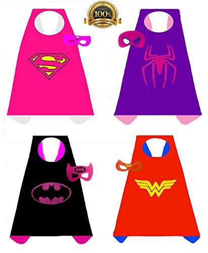 4 pack Satin Superhero Costumes with Capes and Masks (Girls)