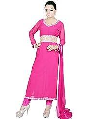 Utsav Fashion Women's Fuchsia Viscose Georgette Readymade Churidar Kameez-XX-Large
