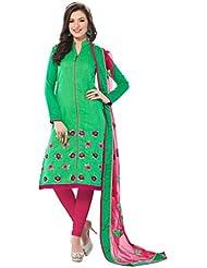 Viva N Diva Women's Clothing Party Wear Low Price Sale Offer Salwar Suit Green Color Chanderi Banarasi Embroidered...