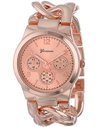 Geneva Women's 2380-Rose-GEN Rose Gold-Tone Watch With Link Bracelet