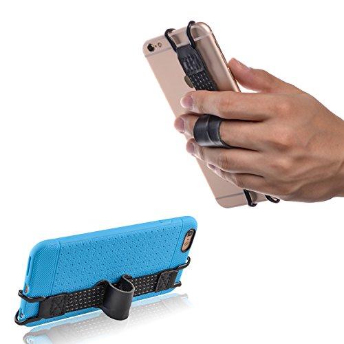 TFY 安全ハンドストラップ 本革 レザーベルト ホルダー  iPhone 6 / 6S (plus) – iPhone 5 / 5S - iPhone SE - Samsung Galaxy S6 Edge (plus) – Note3 / 4 / 5 他各種スマートフォンに対応 、ケースカバーを付けたままでも装着可能