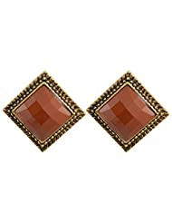 Teen Trends Earring Stud Brown Big Diamond Shape With Oxidesed Gold Border Design-1
