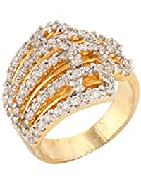 Dilan Jewels PEACE Collection Band Style Studded Gold Plated Wedding Ring For Women