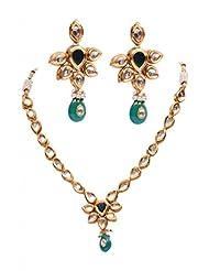 Rubera's Kundan Necklace Set With Ruby Drops - B00SR0SKAC