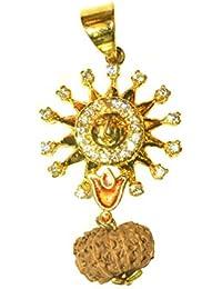 Agarwal Rudraksha Golden Silver Alloy Sun & 12 Face Rudraksh Pendant For Unisex