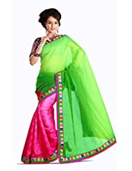 AG Lifestyle Green & Pink Jacquard & Cotton Saree With Unstitched Blouse 2DVY2008A