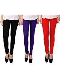 Snoogg Womens Ethnic Chic Inspired Churidar Leggings In Black, Purple And Red