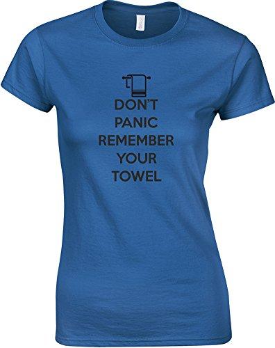 Don't Panic Remember Your Towel, Ladies Printed T-Shirt – Royal Blue/Black L = 6-8