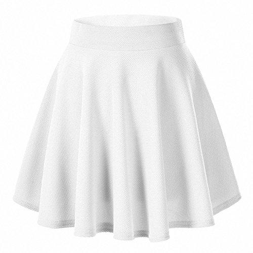 AFIBI Girls Casual Mini Stretch Waist Flared Plain Pleated Skater Skirt (White)