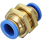 Imported 5pcs 10mm Pneumatic Bulkhead Connector Push In Fittings Air/Water Hose Tube