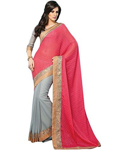 8582a1d2b368f5 Cbazaar Grey And Pink Heropanti Kriti Sanon Saree Best Deals With ...