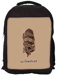 Snoogg Fig 3 Feather Backpack Rucksack School Travel Unisex Casual Canvas Bag Bookbag Satchel