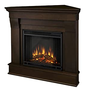 1. Real Flame Chateau Corner Electric Fireplace   Dark Walnut