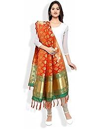 Banarasi Dupatta By KMOZI (Orange & Green)