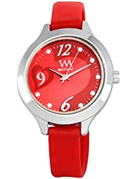 WATCH ME SILICON RUBBER MULTICOLOR PINK RED GOLD SILVER WATCH FOR WOMEN AND GIRLS WM-099-R