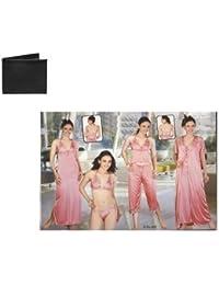 Combo Of Men's Wallet With Ladies Night Wear 6pc Set