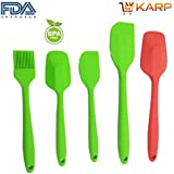 KARP™ Home Kitchen Tools - Food Grade Silicone Complete Cooking Spatula Set Of 5 : Including 1 Small Shovel/1...