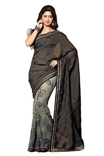 AG Lifestyle Black & Grey Faux Georgette & Jacquard Pallu Saree With Unstitched Blouse ELG8007