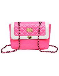 CLOCHARDE Quilted Sling Bag (Neon Pink)(CLO-700)