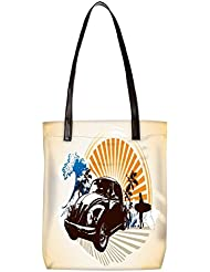 Snoogg Vintage Car Womens Digitally Printed Utility Tote Bag Handbag Made Of Poly Canvas With Leather Handle