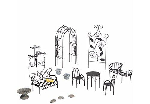 Plow & Hearth Fairy Garden 10 Piece Metal Resin Furniture Set