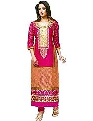 Exotic India Bright-Rose Long Choodidaar Kameez Suit With Printed Checks - Pink