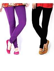 Style Acquainted People Women's Cotton Leggings (Pack Of 2) - B015J897AQ