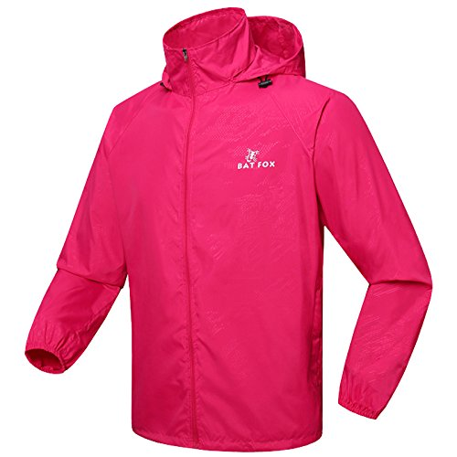 BATFOX Radfahren Laufen Wandern Klettern Angeln Wasserdichte Jacke Anti-Ultraviolett Sunproof Winddicht Regenproof Keep Warm Windjacke Windbreaker Womens Outdoor Sport Langarm Regenmantel