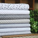 7 Grey Series 100% Cotton Floral Dot Stripe Fabric Quilt 45x45cm DIY Sewing