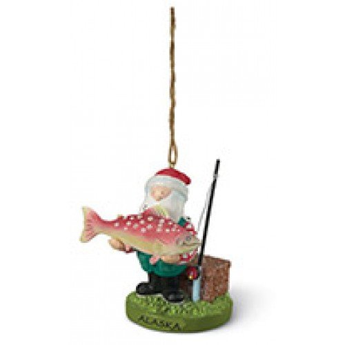 Santa w/ Big Fish Salmon Ornament