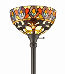 Amora Lighting Amora Lighting AM1086FL12 Tiffany Style Peacock Torchiere Floor Lamp