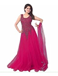 Z Fashion Women's Magenta Color Soft Net Embroidered Semi-stitched Round Neck Sleeveless Free Size Anarkali Gown...
