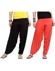 Nikita Women's Black And Red Viscose Patiala Pants 2PC Combo
