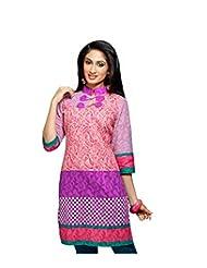 Karishma Suit - FREE Maybelline Colossal Kajal MRP 199 - S Pink-Purple Printed Pure Cotton Jacquard ï¿1/2 Unstitched...