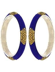 Anuradha Art Blue Colour Stylish Classy Styled With Cheed Beads Stylish Kada Ethnic Bangles Set For Women/Girls